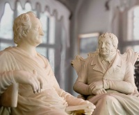 Sculptures by Heinrich Mylius + J. W. von Goethe at Villa Mylius Vigoni on Lake Como