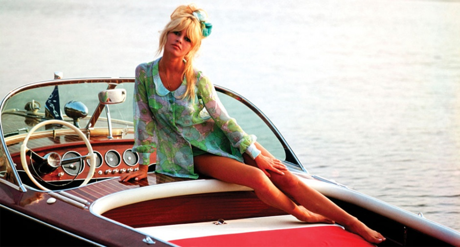 "Brigitte Bardot with her Riva ""Nounours"" on Lake Como"
