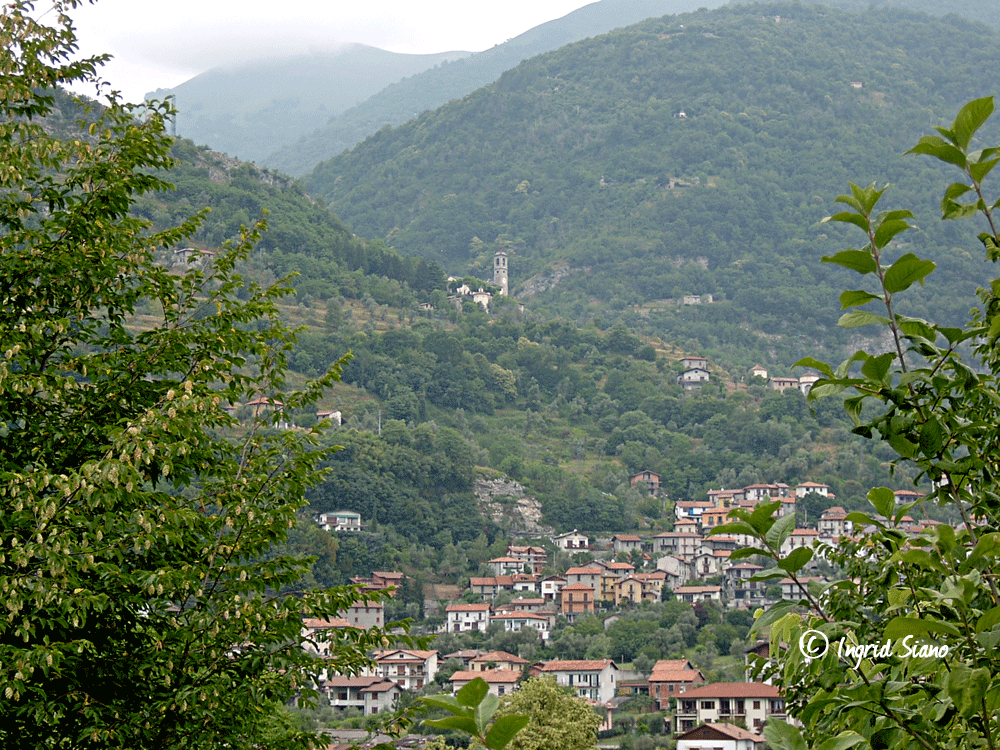 View on to the pilgrimage church Madonna del Soccorso above Ossuccio on Lake Como