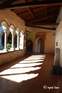 The cloister of Piona Abbey on Lake Como