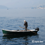 Fishing from boat on Lake Como