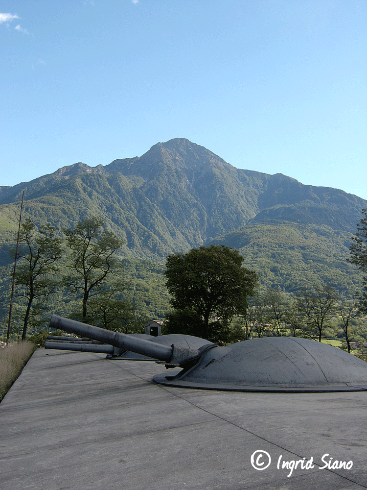 Cannons of Forte Montecchio fortress in Colico on Lake Como