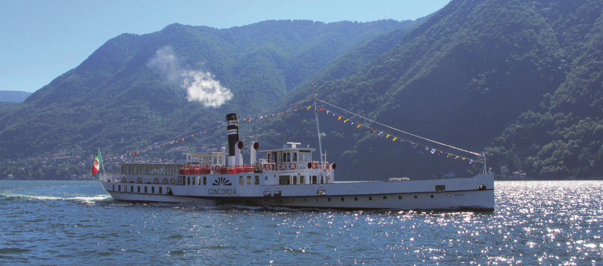 Cruise with historic paddle steamer Concordia on Lake Como